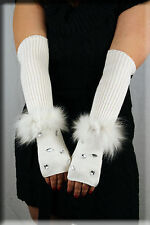 New Beaded White Chenille Fingerless Gloves Hand Warmer Fox Fur Trim
