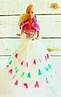 "MATTEL BARBIE Blonde Hair Blue Eyes Pink White Gown Outfit 12"" Tall Free Ship"