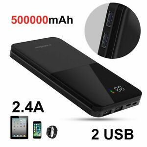 Tragbare Powerbank 500000mAh Externer Batterie Ladegerät Zusatz Akku 2USB LCD