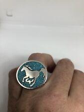 Vintage Turquoise Horse Southwestern Mens Ring Size 11