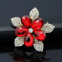 Scarlett RED and WHITE Rhinestone 3D Double Layer Brooch Retro Vintage Style Pin