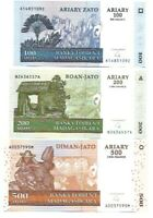 MADAGASCAR SET OF 6 NOTES (2004) 100,200,500,1000,2000,5000 ARIARY - UNC NOTES