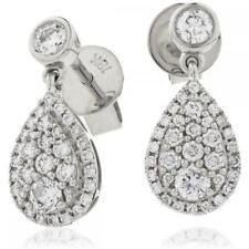 Diamond Pear Drop Earrings 0.70ct F VS in 18ct White Gold for Pierced Ears