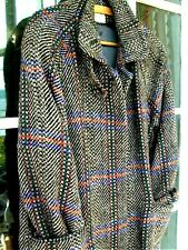 HOURIHAN Irish Tweed Coat ankle length Fits 18/20 Grey blue green red Immaculate