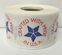 """CRAFTED WITH PRIDE IN U.S.A. 1.5""""x1.5"""" Flag Decals Stickers Laminated 500 Labels"""