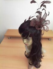 WOW Cream And Brown Twirls Feather Large Statement Fascinator Wedding RACES