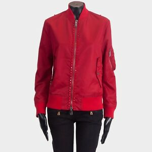 VALENTINO 3290$ Red Satin Rockstud Untitled Rosso Bomber Jacket