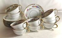 9 Royal Bayreuth Floral Pattern With Gold Trim Cups And Saucers
