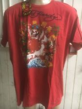 Ed hardy by christian audiometer tee t shirt red skull la sz 2xl plus size + new