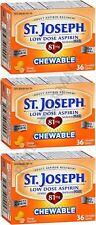 St. Joseph Chewable Aspirin Low Dose 81mg Orange Flavor 36 count ( 3 pack )