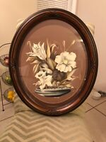 Turner USA , Floral Bouquet made antique  mid-century, Signed Oval Frame