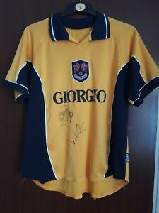 Millwall FC Football Yellow Away Shirt 1999-2000 Size XL Squad Signed NO 2