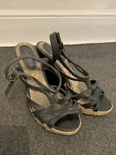 Black Strappy Wedge Heels, Size 7