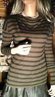VINCE Womens sz Small Brown striped Lightweight Knit Sweater Viscose Rayon
