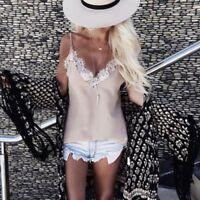 Women Sleeveless Lace Tank Vest Casual Cami Shirt Spaghetti Strap V neck Top