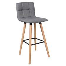 Moustache® Fabric Bar Stool with Beech Wood Legs, Gray