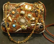 Vintage Fabric Covered Purse With Jewelry Sewn On Hand & Shoulder Straps Excell