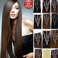 Long Straight Blonde Brown Color Clip In Remy Human Hair Extensions Full Head A3