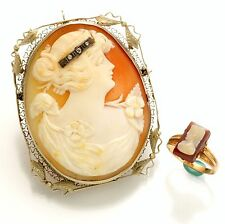 Ring - Sold As Set Vintage Cameo Brooch and Cameo