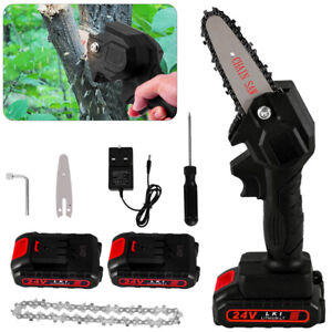 Electric Cordless Chainsaw Garden Chain Saw 550W Cutting Tools With 2 Battery