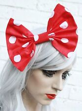 Red White Spotty Hair Bow Vintage 50's Style Hair Clip Rockabilly Loli Goth