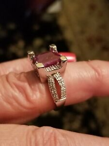 3.98 CTW GENUINE RUBY & DIAMOND PLATINUM OVER 925 STERLING SILVER RING SIZE 7