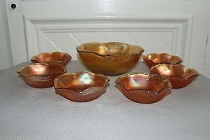 Imperial Glass Prism Daisy Ribbed Marigold Carnival Glass Master and Berry Bowls
