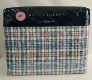 Ralph Lauren Veronique Lucie Plaid King Quilted Coverlet Blue