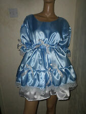 "ADULT BABY SISSY BLUE WHITE SATIN DRESS 40"" PRETTY  DOUBLE LAYER FRILL HEM"