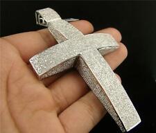 8.50 Ct White Sim Diamond XXL Cube Cross Men's Pendant 14K White Gold FN Silver