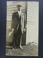 Old Man In Suit Hat Outside Of House B&W Antique Real Photo Postcard RPPC c1910