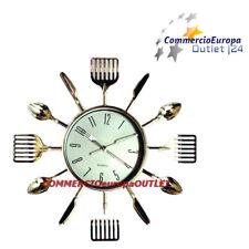 OROLOGIO DA PARETE POSATE MURO CASA CUCINA CROMATO WALL CLOCK CUCCHIAIO stock