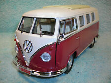 1/18 SCALE DIECAST 1962 VW MICROBUS IN DARK RED/WHITE BY YAT-MING.