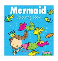 GIRLS MERMAID COLOURING BOOK KIDS CHILDREN GLOSS COVER LEARNING WHITE PAPER