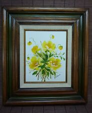 Signed Framed Acrylic Floral Painting Art / Yellow Flowers Buds Bouquet / Miro?