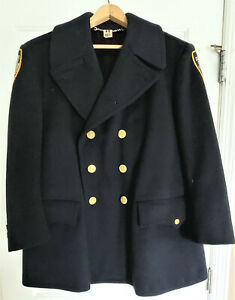 VINTAGE Navy Blue Winter Coat NYPD 100% Wool Tailor made.