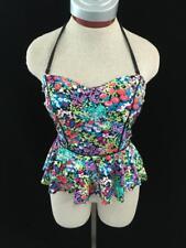 Apt 9 tankini top only Size M floral halter detachable strap
