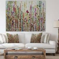 Designart 'Red Bird In Color Meadow' Cottage Canvas Artwork