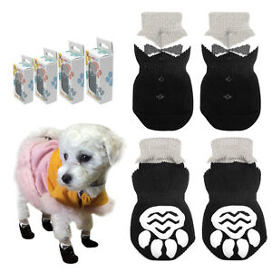 4pcs Warm Soft Shoes Anti-Slip Puppy Pet Small Dog Socks Shoes Paw Print S-XL