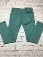Mens TOPMAN Green Blue Coloured Skinny Stretch Jeans Size 30 Regular