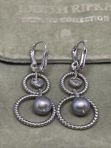 Judith Ripka Pearl & Cubic Zirconia Dangle Earrings - Sterling 925