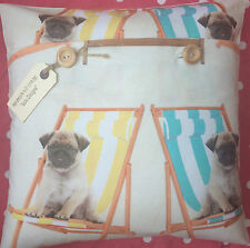 "Kitch/Dogs ""Pugs & Deckchairs"" fabric cushion cover"