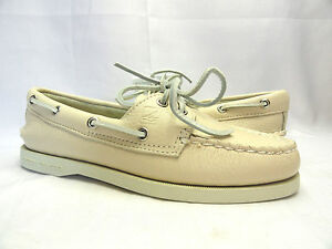 Women's Sperry Top-Sider A/O Ivory Leather Boat Shoes Size 5-6