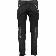 PIERRE BALMAIN Black Leather Patch Ribbed Biker Moto Zip Jeans BNWT IT48 UK32