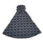 """Halloween Cape Hooded Black & Gray Geometric Pattern Textured Velvet Hood 29"""""""