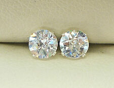 SILVER STUD EARRINGS 5mm  ROUND CREATED DIAMOND BRIOLETTE CUT STONE sk942