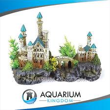 #18700 Kazoo Mountain Castle with Plants Small Aquarium Fish Ornament Decoration