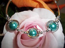 Hot Tibetan Silver Fashion Blue/Green Glass & Clear Crystal Bead Bracelet S-20