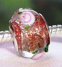 Orange Glitter Pink Flowers Rose Glass Bead for Silver European Charm Bracelets
