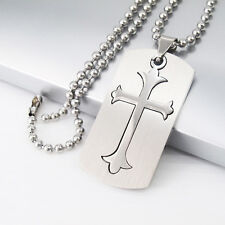 "Silver Army Military Dog Tag Cross Pendant 24"" 61cm Mens Ball Chain Necklace"